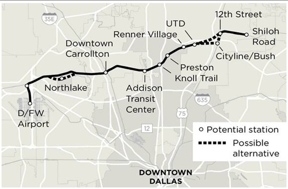 DART Looks To Fast-Track The Cotton Belt Line To 2022 The New Dart Line from Plano thru Addison, Carrollton, Coppell to DFW Airport